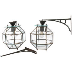 Lantern Lamps in Crystal and Leaded Brass, 1900s, Italian Lighting