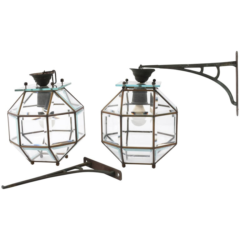 Pair of Lantern Lamps in Crystal and Leaded Brass, 1900s, Italian Lighting