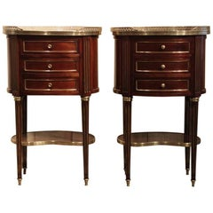Fine Pair of Napoleon III French Oval Side Tables