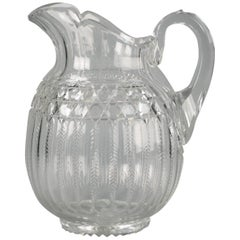 Large American Faceted Glass Pitcher, circa 1900