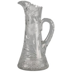 American Brilliant Cut and Engraved Glass Pitcher, circa 1900