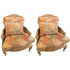 Pair of Louis XV Style Overstuffed Bergere Chairs by Maison Jansen