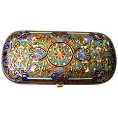 Early 20th Century Russian Silver Gilt Cloisonné Case