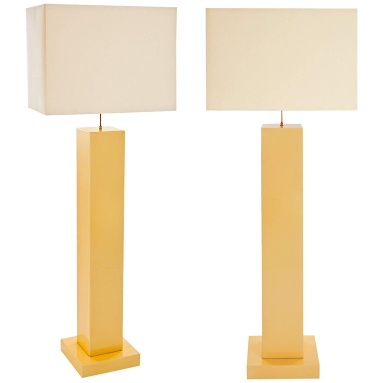 Lacquered Wood Floor Lamps, 1970s