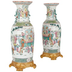 Pair of Chinese Antique Canton Famille Rose Porcelain Vases