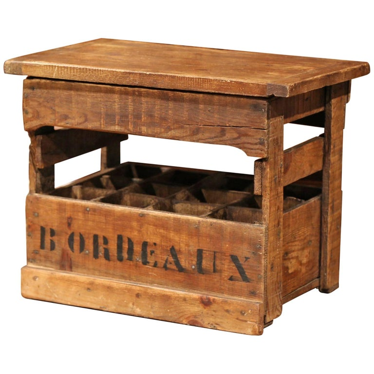 Old French Pine 12 Wine Bottle Storage Cabinet with Bordeaux Inscription