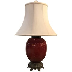 19th Century Chinese Sang De Boeuf Porcelain Lamp