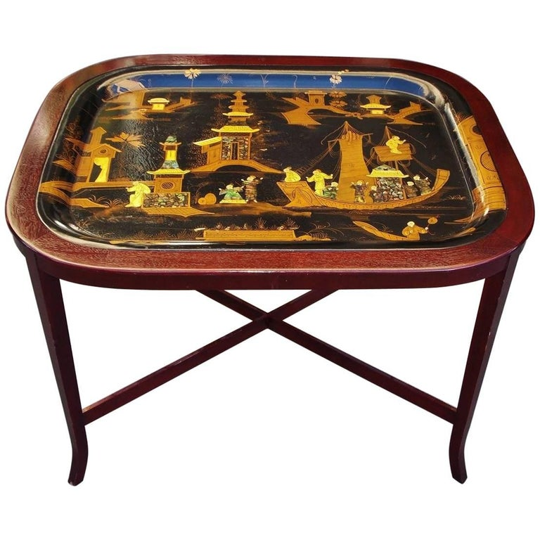 English Chinoiserie Abalone and Gilt Papier Mâché Tray on Stand, Circa 1820