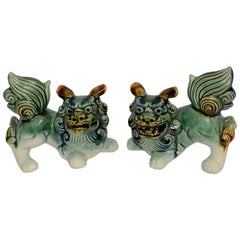 Midcentury Pair of Japanese Foo Dogs