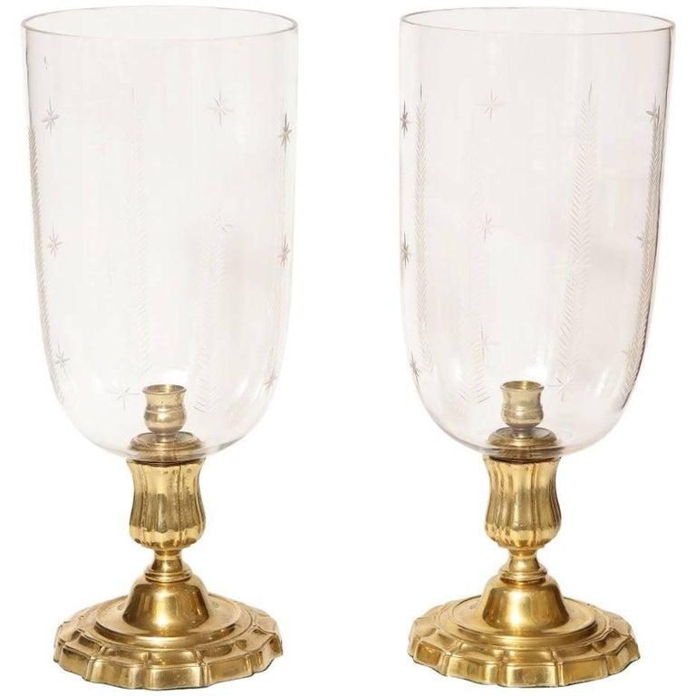 Pair of Antique Brass Hurricane Candleholders 1