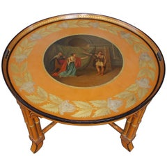 English Regency Figural Circular Tole Tray on Faux Bamboo Stand, Circa 1810