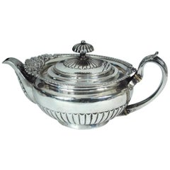 Large George IV Silver Teapot by William Eley II, London, 1823