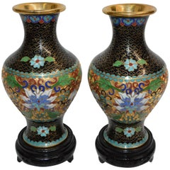 Pair of Chinese Cloisonne Vases on Lacquered Wooden Stands