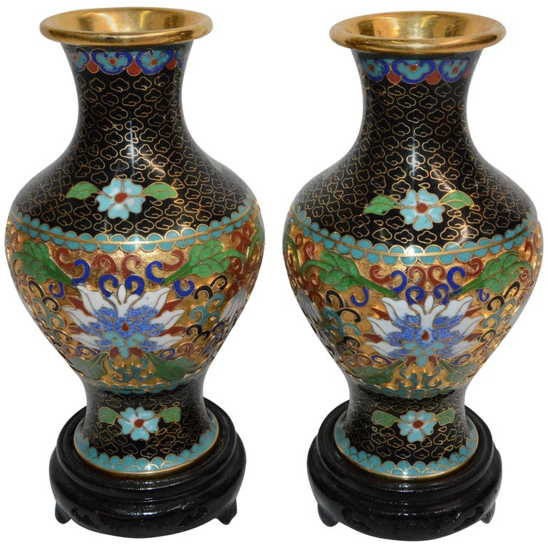 Pair Of Chinese Cloisonne Vases On Lacquered Wooden Stands For Sale