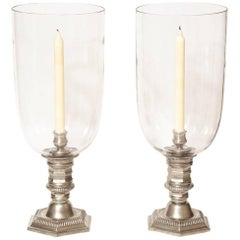Pair of Silver Plated Hurricane Candleholders