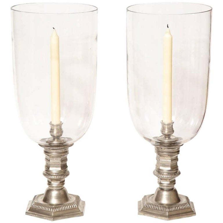 Pair of Silver Plated Hurricane Candleholders For Sale