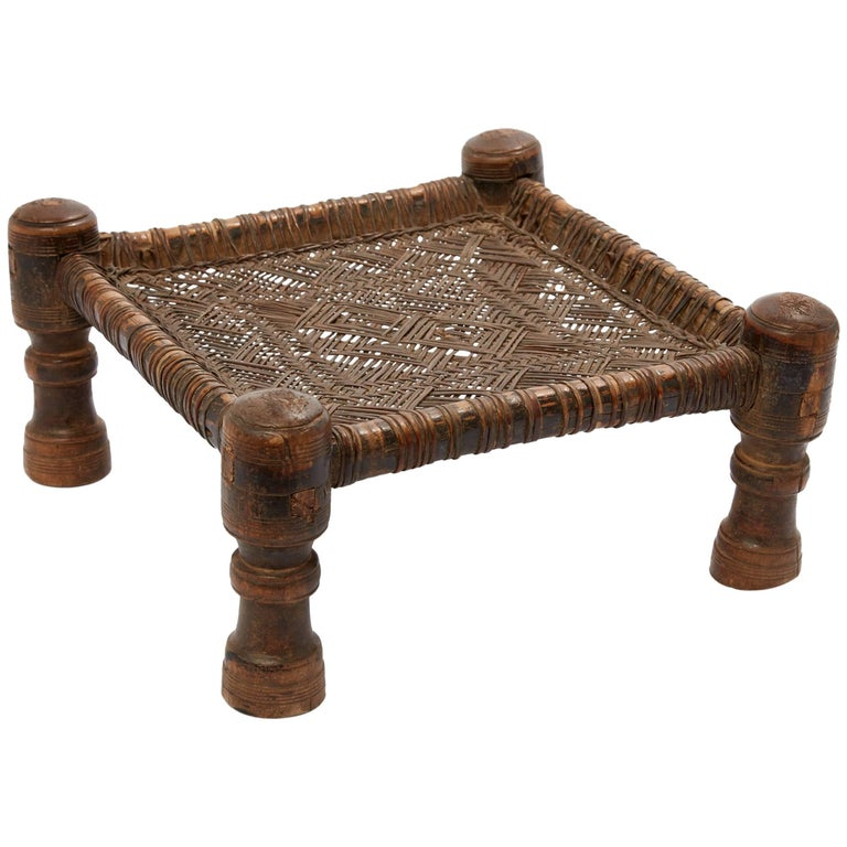 20th Century Hand Woven Leather Stool from Swat Valley in Pakistan