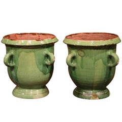 Large Pair of Mid-20th Century French Four-Handle Green Planters from Provence