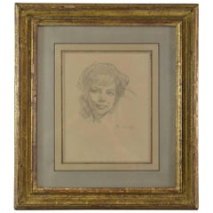 """Portrait of A.R."" (Alice Rewald) by Balthus Charcoal and Pencil, 1962"