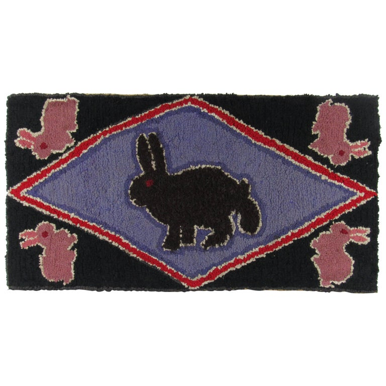 American Folk Art Rabbit in Diamond Hooked Rug