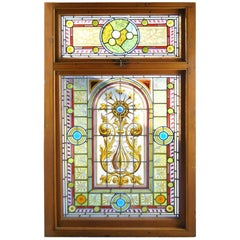 Victorian Two-Piece Painted Leaded Glass Landing Window, circa 1880s
