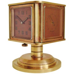 Rare Swiss Art Deco Rose Gilded Brass Angelus Meteo Desk Clock/Weather Station