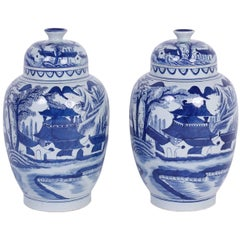 Pair of Canton Design Chinese Export Style Blue and White Porcelain Lidded Jars