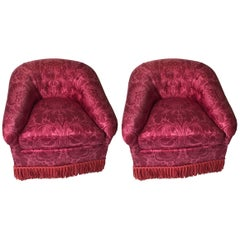 Pair of Silk Barrel Back Chairs by Lewis Mittman
