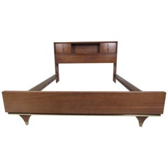 Midcentury Walnut Headboard with Storage Compartments
