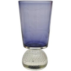 Original Carl Erickson Purple and Clear Art Glass Vase with Inclusions