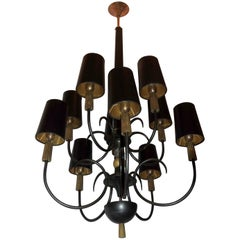 French Patinated Gold Gilt Regency Empire Bronze Iron Crystal Ten-Arm Chandelier