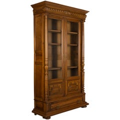 19th Century, French Henri II Style Walnut Bibliotheque