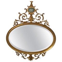 Edwardian Style Oval Giltwood Mirror