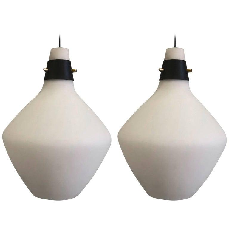 Pair of Italian Mid-Century Modern Glass Pendants /Suspension Fixtures, Stilnovo