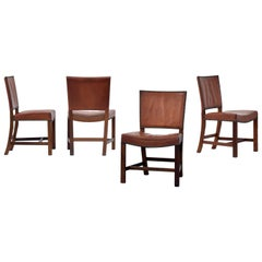 Kaare Klint, Four Large Barcelona or Leather Dining Chairs, Mahogany, 1950s