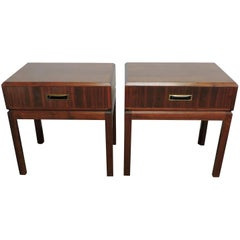 Pair of Mid-Century Modern Walnut Nightstands or End Tables with Brass Pulls