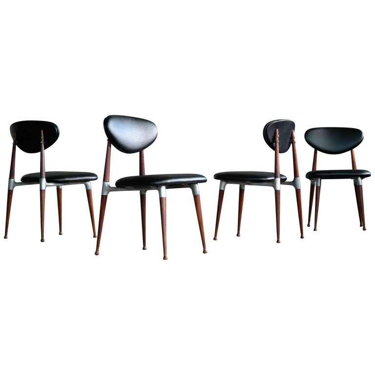 Dan Johnson Four Dining Chairs in Walnut and Aluminum for Shelby Williams
