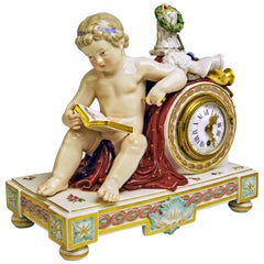 Meissen Mantel Table Clock Cherub The Fine Arts by Michel V. Acier, circa 1860