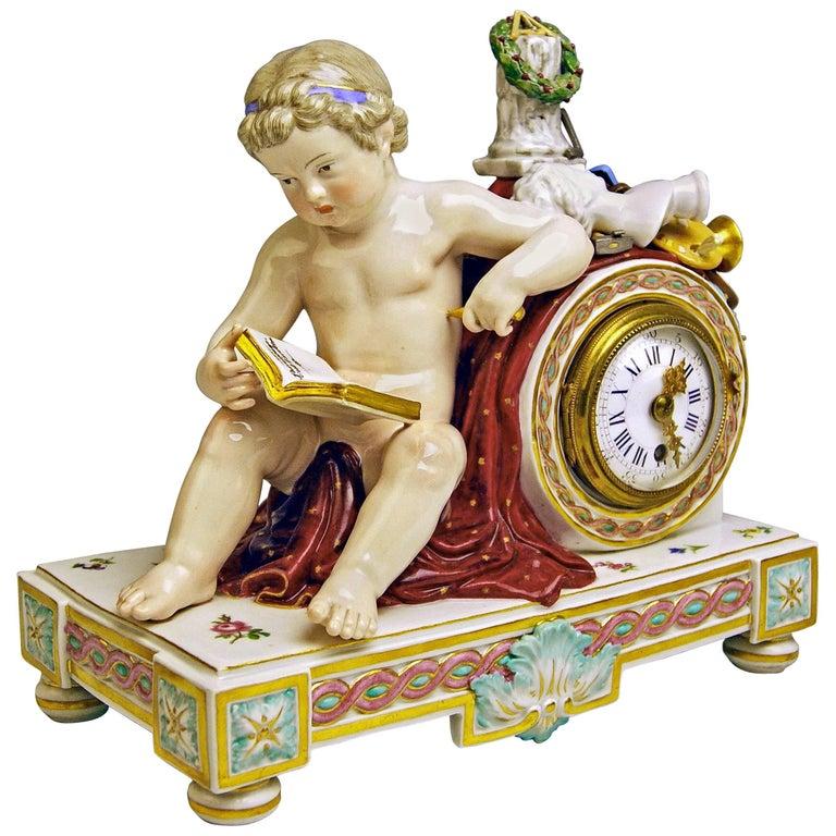 Meissen Mantel Table Clock Cherub The Fine Arts by Michel V. Acier, circa 1860 For Sale