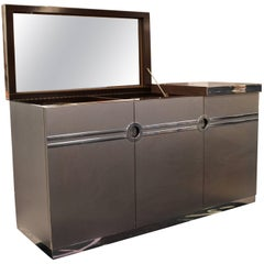 Mid-Century Modern Pierre Cardin Gray Lift Top Dry Bar with Chrome and Mirror