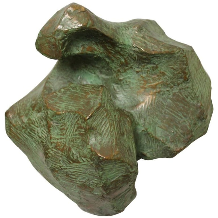 Abstract Patinated Bronze Sculpture by B. Fast