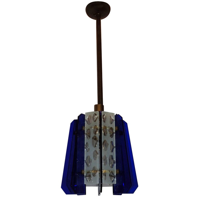 French Art Deco Mid-Century Modern Cobalt Blue Murano Frosted Glass Fixture