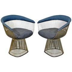 Mid-Century Modern Pair of Stainless Steel Warren Platner Wire Armchairs, 1960s