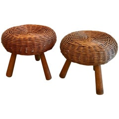 Mid-Century Tony Paul Woven Rattan Wicker Round Footstool, 1950's