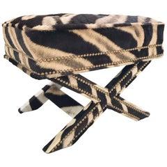 Vintage Billy Baldwin Style X Bench Ottoman Reupholstered in Zebra Hide