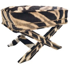 Vintage Billy Baldwin Style X Bench Ottoman Reupholstered in Zebra Hide