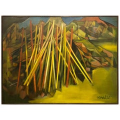 Striking Abstract Large Oil on Canvas Signed by Wand, 1961