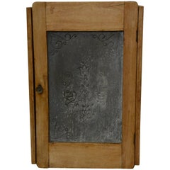 19th Century French Punched Zinc and Wood Wall Cabinet
