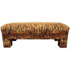 Tiger Print Upholstered Bench