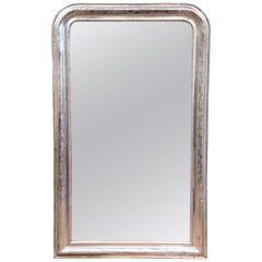 19th Century French Louis Philippe Silver Leaf Wall Mirror with Flower Engraving